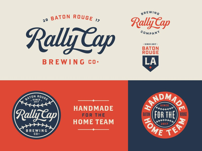 RCB Co. identity vintage beer brewery typography script cameo baseball