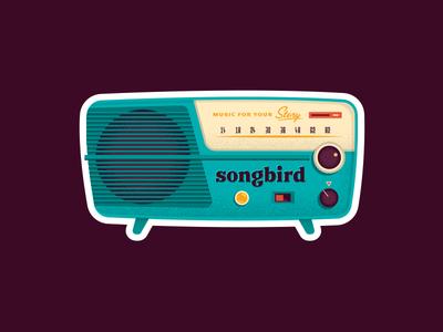 Radio Sticker mid mod illustration sticker music speaker radio