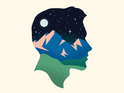 Head in the Stars cameo texture simple hills mountains moon stars silhouette head