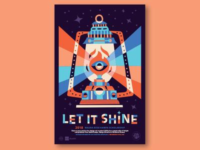 Maura Rose Kampa Scholarship illustration light stars typography poster eye flame fire lantern