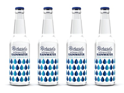 Richard's Rainwater modern vintage pattern renders typography simple design packaging sparkling bottles drops rain