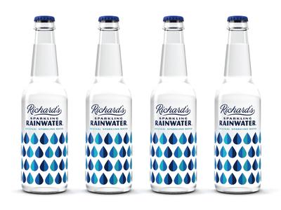 Richard's Rainwater modern vintage pattern renders typography simple design packaging sparkling bottles drops rain