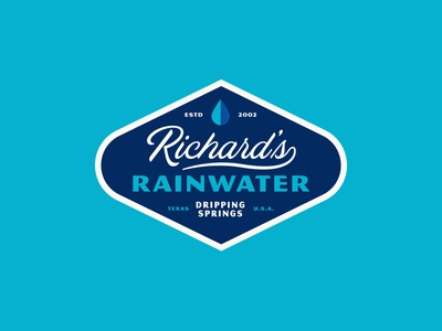 Richard's Badge modern badge vintage typography simple design packaging sparkling bottles drops rain