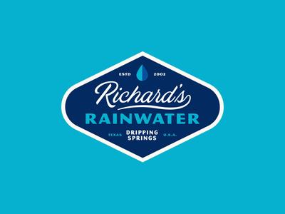 Richard's Badge modern badge vintage typography simple design packaging sparkling bottles drops rain
