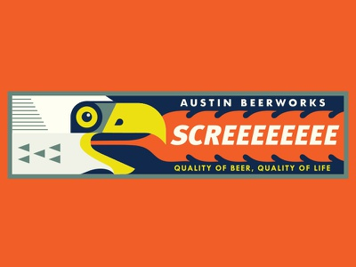 Screeeeee flame screeee fire head eagle illustration mat beer abw