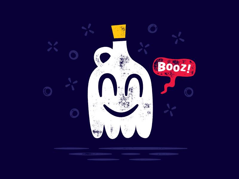Boooooooz jug bottle illustration cartoon character booze spirit ghost