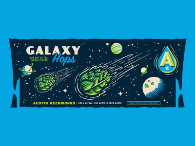 Galaxy Hops moon stars illustration beer spaceship comet space planets hops galaxy