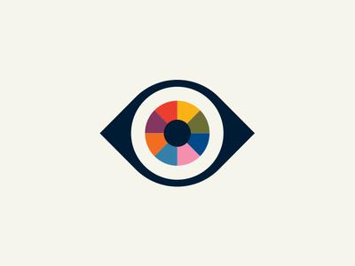 Rainbow Eye branding logo rainbow. illustration wheel color eye
