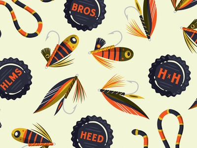 Pattern illustration feather hook pattern clothing beer bottle cap snake fishing lure fish fly