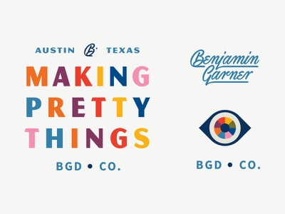BGD Co. illustration script typography logo identity branding wheel color eye