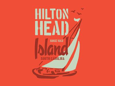 Hilton Head illustration ocean birds hilton head boats