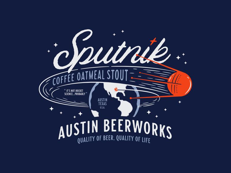 Sputnik typography type brewery beer illustration space earth sputnik