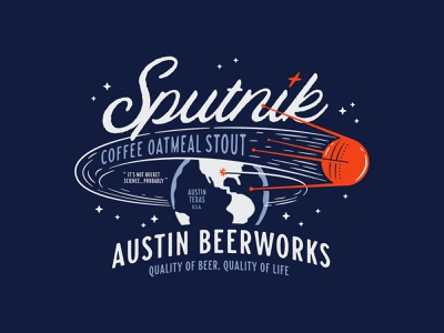 Sputnik typography type brewery beer illustration space earth sputnik