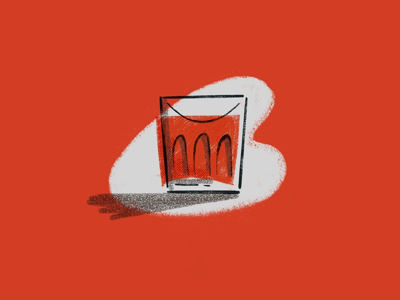 Negroni drink illustration tumbler glass procreate