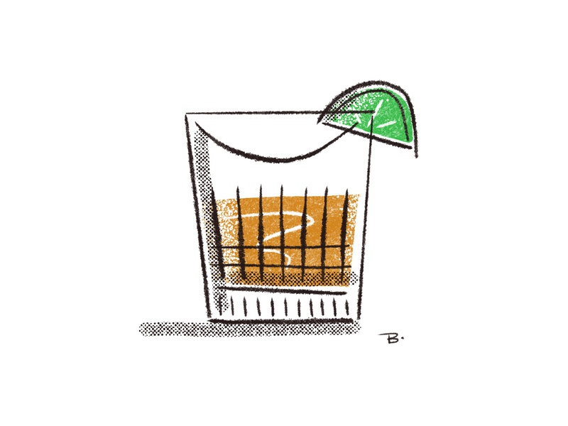 Tequila procreate brushes procreate illustration mid mod line glass tequila cocktail
