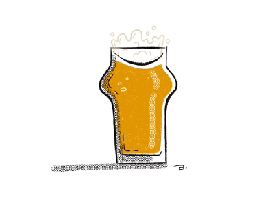 Beer brushes mid century pint glass pint illustration procreate beer