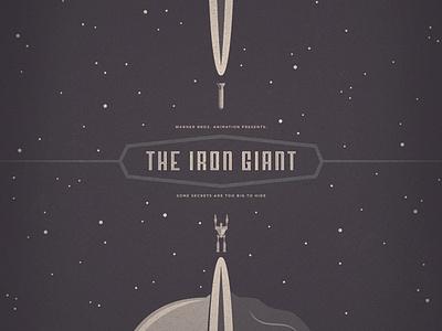 The Iron Giant iron giant movie poster illustration space robot bomb rocket sci-fi stars earth vintage monochromatic retro simple