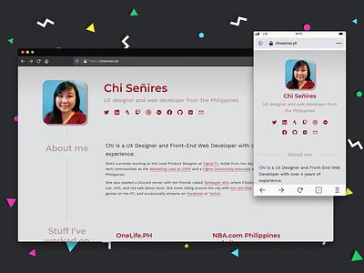 chisenires.ph | personal website redesign for 2021! figma responsive website website portfolio personal website design