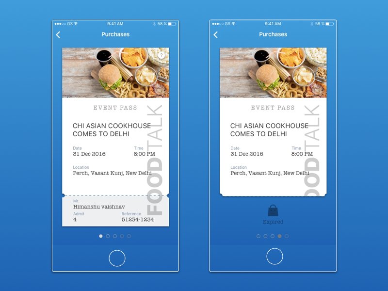 Post purchase screen for Food Talk Store ux ui clean minimal redeem ticket pass coupon store