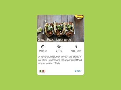 Event Card material food talk hover icons minimal ui card events