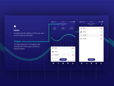 Finance App Concept simple line-art minimal blue lifestyle night life dark themes ios apps