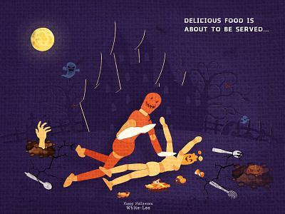 Happy Halloween food terrorist illustration halloween design