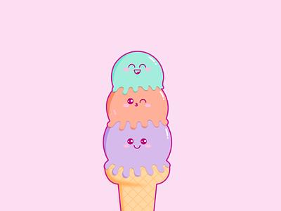 Ice Cream Cone illustration kawaii vector