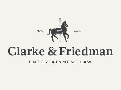 Clarke & Friedman brand design law entertainment horse carousel logo mark firm