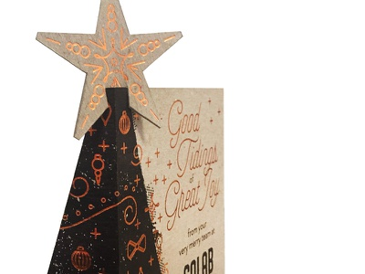 Christmas at Colab christmas tree star colab foil holiday copper black chipboard print