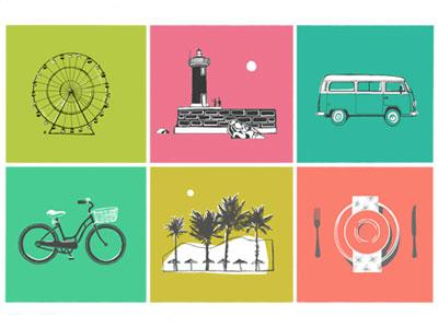 Memories of holidays vacation card summer graphic art illustration