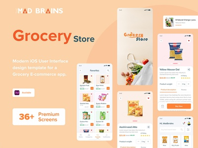 Grocery Store ecommerce app ecommerce online store uiux appdesign shopping grocery food online shop typography clean ux client  concept ui madbrains company branding concept design