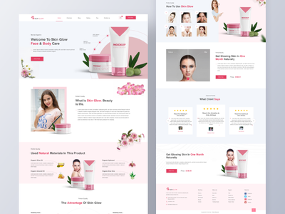 Cosmetic Products Free Download Landing page beautyproductlandingpage skinglowdesgin 2020dedsign newtrend topdesign uiuxdesign ecommercesdesign singleproductwebsite beautyproduct design