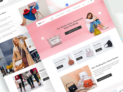 Shopify  E-commerce Home Page buy bags shop home page design e-commerce design shopify theme shopify e-commerce shop e-commerce typography illustration landing page client  concept ux company ui branding concept design