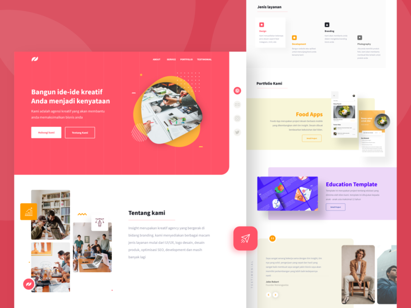 Insight - Awesome Website Template layout feature testimonial solid website homepage gradient webdesign typography branding ux design uiux ui uidesign