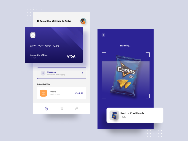 Costco - Mobile Shopping App gradient solid color blue modern minimalist clean color ux homepage card typography branding scanner payment chip visa ui design uiux uidesign