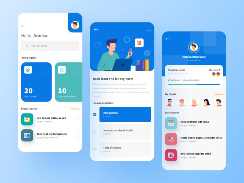 Online Course Mobile App gradient typography vector design profile learning app ios mobile app simple uidesign minimalist clean mobile online course app