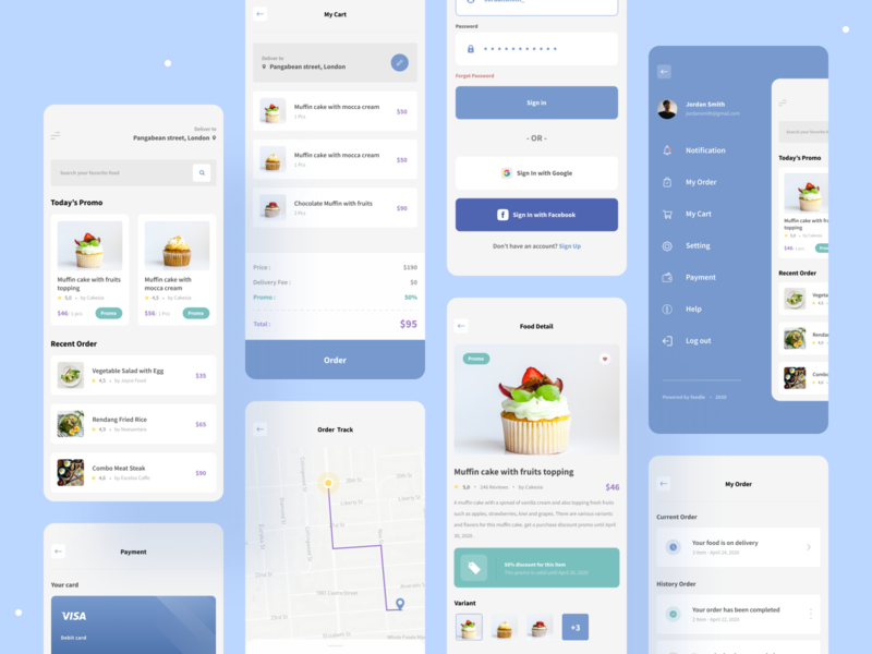 Foodie - Food Delivery App ux ui minimal register login screen map payment interface ios delivery food delivery restaurant product design concept clean card app