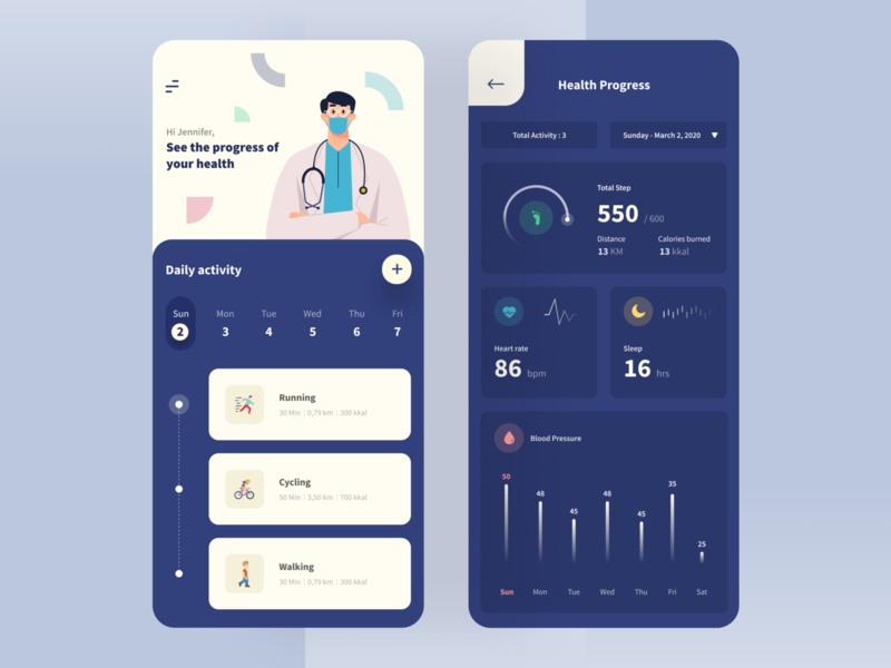 Health Tracking App health app modern minimalist clean tracking app ios mobile card chart statistic dashboard medical patient date ui ux training analitycs