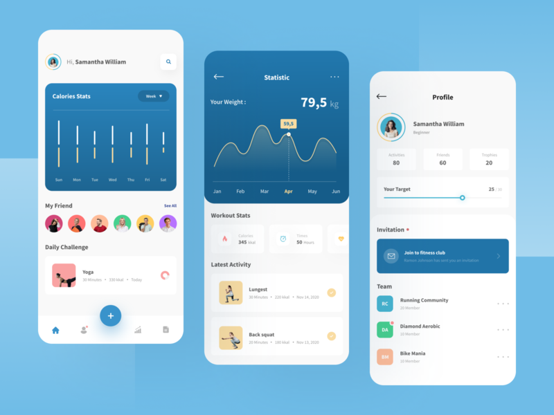 Workout Mobile App 🏃♂️ activity chart clean sport minimal profile statistics training workout health interface ios mobile fitness ui ux dashboad exercise app