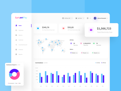 Lunavo Pay - Cost Dashboard analytics payment overview statistic ux interface map fintech cart finance minimalist clean uidesign dashboad ui web