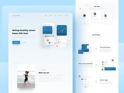 Healthtrack - Landing Page Exploration webdesign interface color mobile design mobile ui typography responsive website ux landingpage minimalist clean design ui uidesign