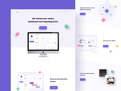 Vizao - Landing Page for Project Management Dashboard web design website typography uidesign ui clean 3d minimalist landing page homepage design