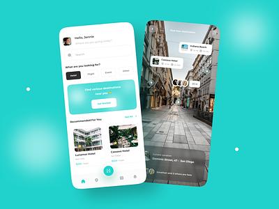 Mlaqu - Mobile Travel App 🌍 vacation destination app typography minimalist travel app scanning augmentedreality ar mobile design mobile app design uidesign ui