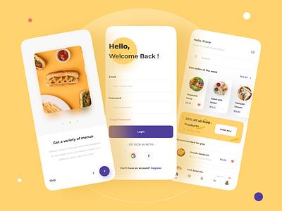 Food App Concept 🥗 mobile ui app onboarding screen minimalist clean ui mobile design mobile app app design food delivery app food delivery service recipe food food app