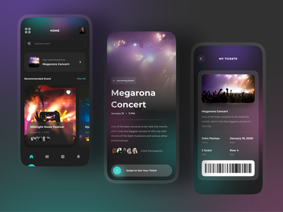 Event App Design 🎉 typography entertainment clean mobile ios festival ux ui ticket booking concert event event app ticket app booking app dark app dark
