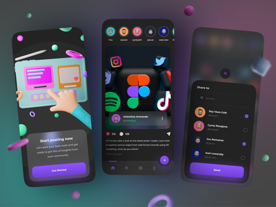 Sosy - Social Media App 🎉 clean minimalist mobile blender3d figma trending social network post ux ui dark mode dark app design app 3dmodeling 3d share feed social media