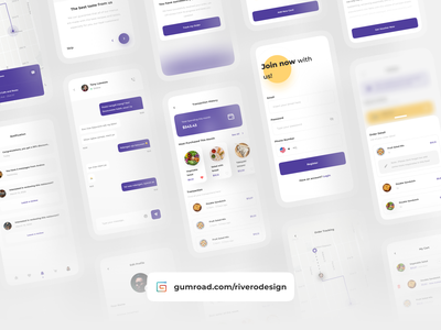 Fudys - Food Delivery App UI Kits component food delivery app product design clean ui typography clean design product sell gumroad food app minimalist concept mobile app design ui uidesign uikit