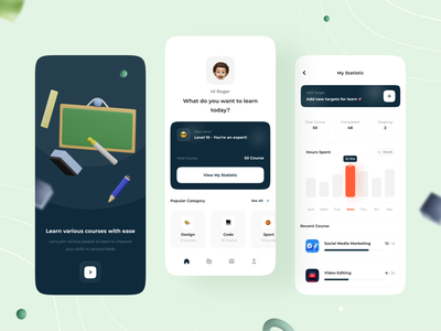 Online Course App Concept 📘 uidesign learning platform course app platform ui ux concept minimal 3d statistics dashboard app learning app design mobile app online course e-learning