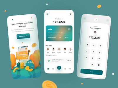 Doku - Digital Wallet App 📱 wallet app finance mobile app minimalist clean illustration 3d 3d modeling ui ux uiux interface mobile fintech card app wallet transaction