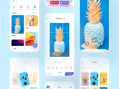 Kolase - Gallery App Mobile Concept 🖼 uidesign typography camera app camera mobile gallery uiux ux ui design app minimal clean category online photo editor photo